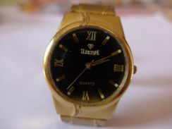 Slimstone Quartz Black Dial Gold Watch