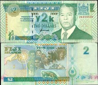 Fiji 2 dollars 2000 unc