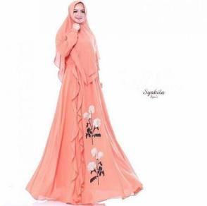 Syakila syari dress tudung long sleeve Muslimah