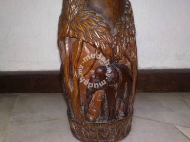 Pasu kayu antik antique wooden vase