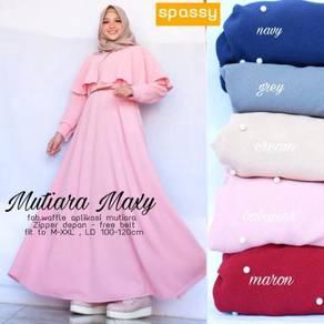 Mutiara Maxy dress long sleeve Muslimah grey red