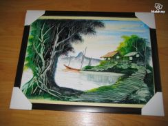 Oil Painting - Title Kampung Life