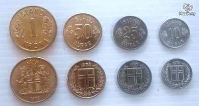 ICELAND coins 10 25 50 AURAR 1 KRONA 1967-1974 unc