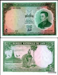 Laos 5 kip p 98 1962 unc