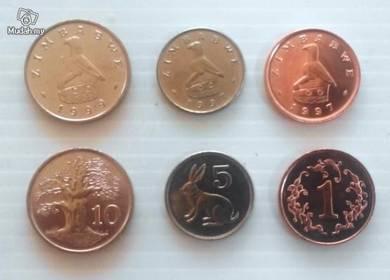 ZIMBABWE coins 1 5 10 CENTS 1997-1999 unc