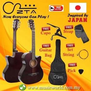 Zta 38 inch acoustic guitar dark brown cutaway