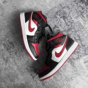 Nike air jordan 1 mid black noble red shoes - 9uk