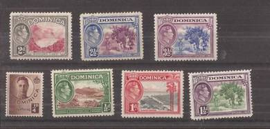 DOMINICA 1937 KGVI 1/2d - 31/2d mh BJ319