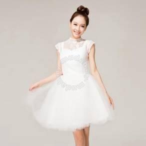 White Bateau Lace Knee-length Bridesmaid Dress