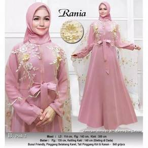 Rania maxi dress long sleeve nude red pink green