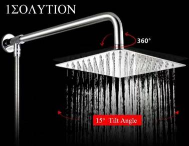 "[HB82] S/ Steel SQUARE Shower Head 8"" 20 CM Set"