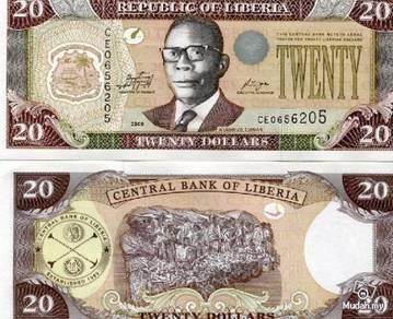 Liberia 20 dollars 2011 p new unc