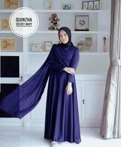 Quinza velvet dress long sleeve pink grey blue
