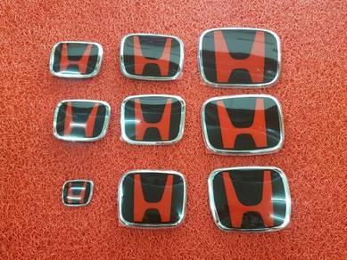 Honda freed civic fd fb fc black red emblem logo