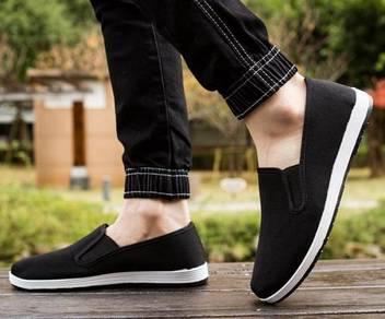 F0268 Black Canvas Slip On Men's Kasut Murah Shoes