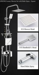 "[HB288] Bath Rain Bidet Shower Set 8"" Square"