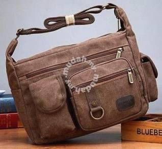 B187 Brown Multi-Pocket Crossbody Porter Sling Bag