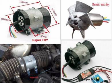 12V Electric Supercharger Turbo Boost Intake Fan 1