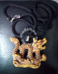 ABPW-D001 Hard Wood Lively Dragon Pendant Necklace