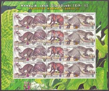 Mint Sheetlet Protected Mammals Cat Pef 2000