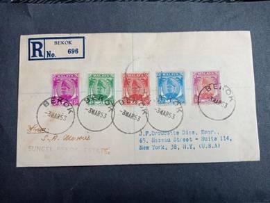 Antik Cover BEKOK to USA 1953 no 3296