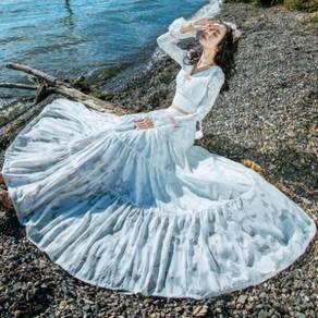 Two piece white wedding bridesmaid prom dress