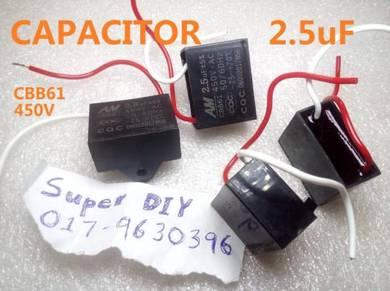 Capacitor kipas fan motor 2.5uf 220v 450v cbb61
