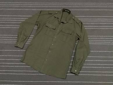 Uniform hijau askar vintage saiz M to L