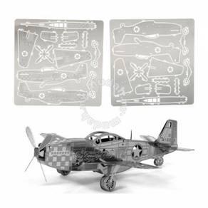3D Nano Steel Laser Cut Puzzle - P-51 Mustang