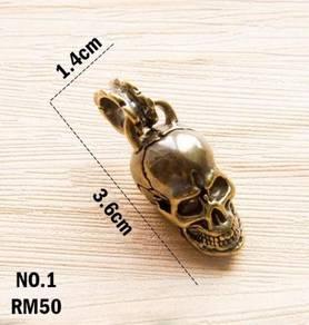 Pure Copper Skull Keychain II | Keychain Tembaga