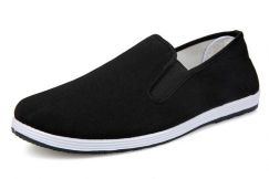 F0268 Black Loafers Canvas Slip Ons Kasut Shoes