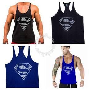 SuperMan Fitness Gym Sport Singlet baju gym sport