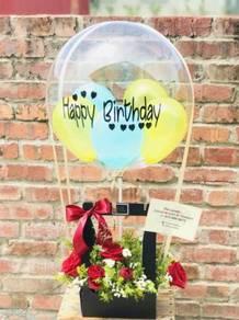 Gift bubble ballon n flower / chocolate box