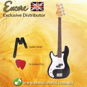 Encore lh-e4blk left handed bass guitar black