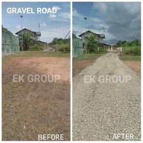 Korek parit asphalt timbus tanah land clearing
