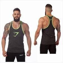Gym Shark Green Head Singlet Gym Fitness Baju