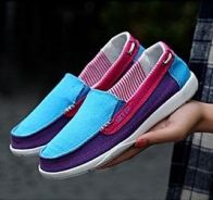 F0252 Blue Purple Pink Women Slip On Loafers Shoes