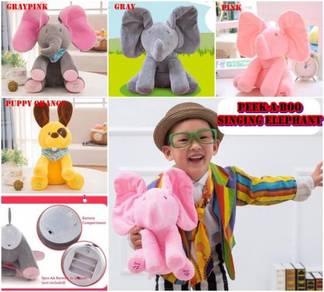 [OFFER ]Cute HIDE & SEEK Singing Elephant PINKGRAY