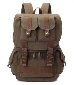 Army Green DSLR Cam Multi-Pocket Bag Men Backpack