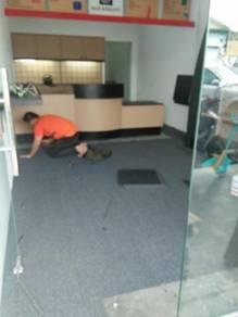 INSTALL TILE CARPET l pasang karpet pejabat