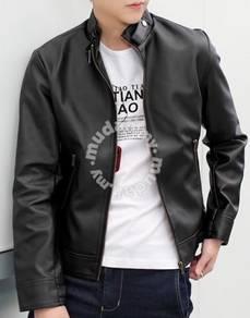 Korean stylish zipper biker leather jacket black