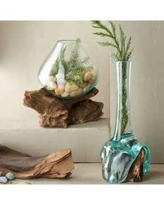 Molten glass deco on wood aquarium, salad bowl