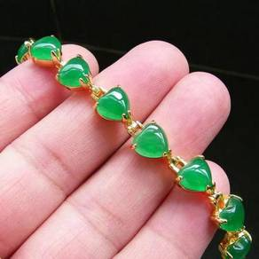 [PT121] Green Emerald Jade Gold Plating Bracelet