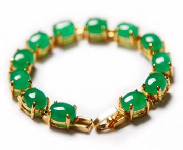[PT124] Green Emerald Jade Gold Plating Bracelet