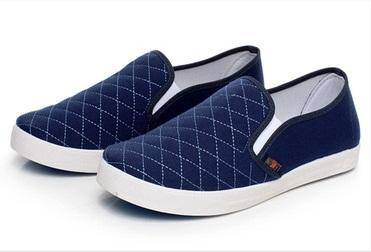 F0248 Blue Simple Slip On Loafers Men Kasut Shoes
