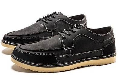 F0238 Black Retro Business Dock Boat Kasut Shoes
