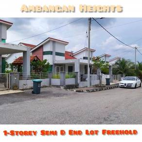Single Storey Semi D, End Lot, Extra Land 20 x 95 Ft, Ambangan Heights