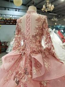 Pink long sleeve wedding bridal dress gown RB1563