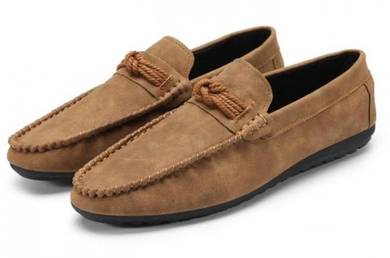 F0233 Elegant Brown Loafer Slip On Men Kasut Shoes