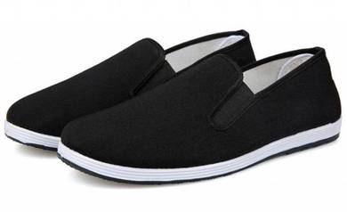 F0268 Black Canvas Loafers Slip On Men Kasut Shoes